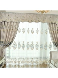 Elegant Embroidered Home Decor 2 Panels Living Room Bedroom Custom Sheer Curtains