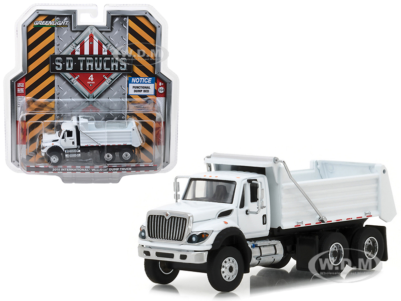 2018 International WorkStar Construction Dump Truck White S.D. Trucks Series 4 1/64 Diecast Model by Greenlight