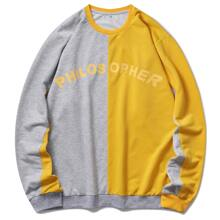 Men Letter Graphic Spliced Sweatshirt