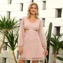D&M Lantern Sleeve Cut-out Sequin Lace Dress