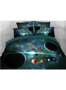 Green Galaxy Bedding Soft Lightweight 3D Planets Duvet Cover Set 4-Piece Bedding Set