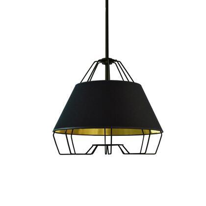 ROC-1512-698 1 Light Black Pendant With Black On Gold Hardback