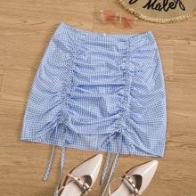 Plus Gingham Drawstring Front Mini Skirt