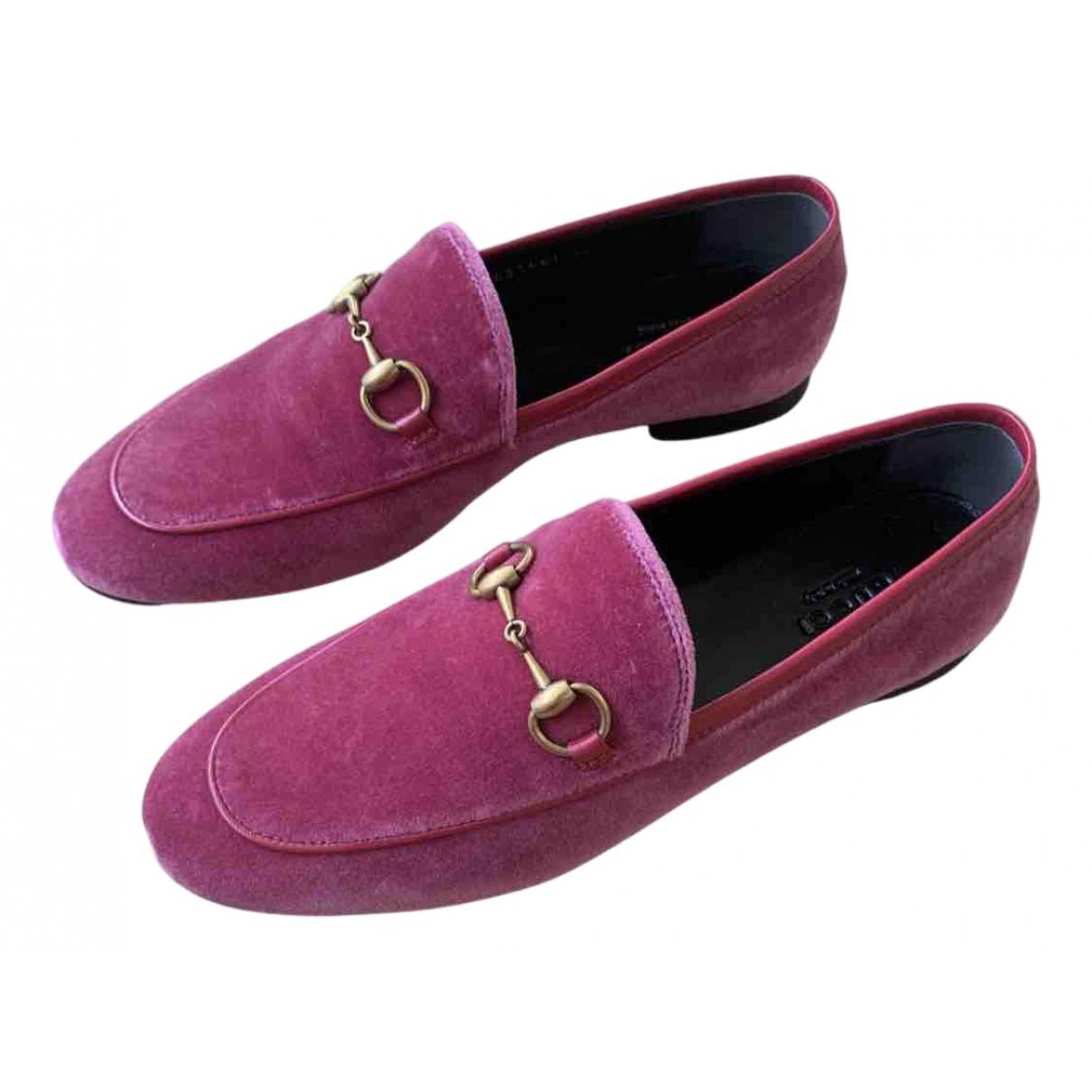 Gucci Jordaan Pink Suede Flats for Women 36 EU