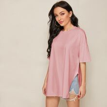 Drop Shoulder Split Side Longline Tee