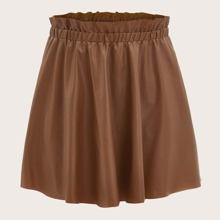 Plus Paperbag Waist PU Leather Skirt