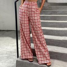 Double Crazy Hose mit Reissverschluss hinten, Karo Muster und breitem Beinschnitt