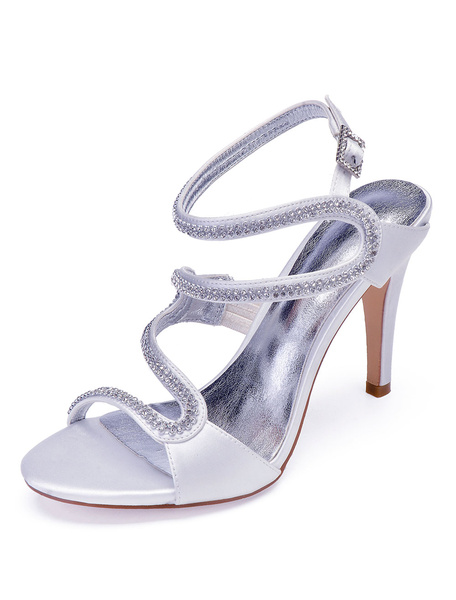 Milanoo Blue Crystal Wedding Shoes Mother Shoes Satin Rhinestones Strappy Bridal High Heel Sandals