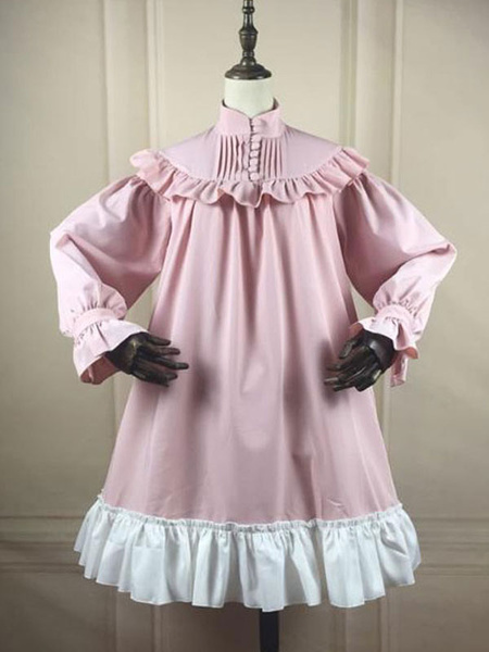 Milanoo Sweet Lolita OP Dress Ruffles Pink Two Tone Long Sleeves Lolita Vestidos de una pieza