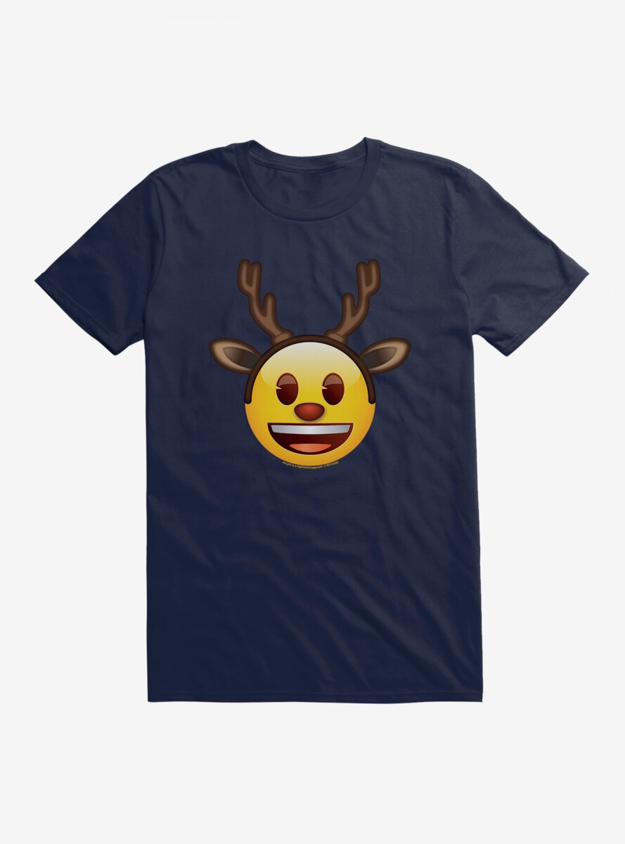 Emoji Holiday Icons Happy Face Reindeer T-Shirt