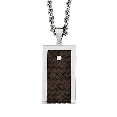 Mens Stainless Steel & Brown Leather Pendant, One Size , No Color Family