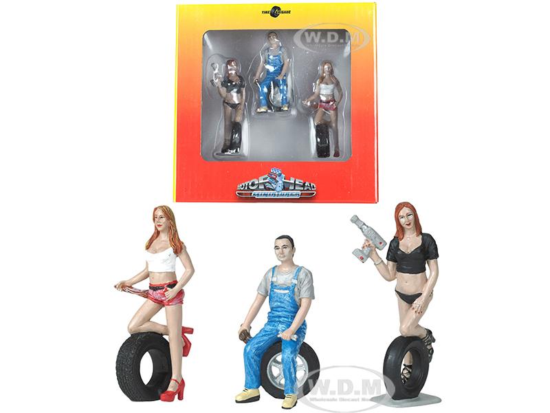 Andie Derek and Michele Tire Brigade 3 piece Figurine Set 1/24 by Motorhead Miniatures