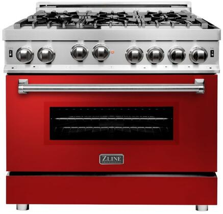 RG-RG-36 36 Red Gloss Professional Natural Gas Range with 6 Italian Burners  4.6 cu. ft. Capacity Oven  Convection  Cast Iron Grates and Dual