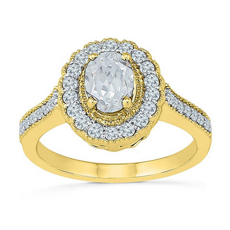Womens Lab Created White Sapphire 10K Gold Cocktail Ring, 9 , No Color Family