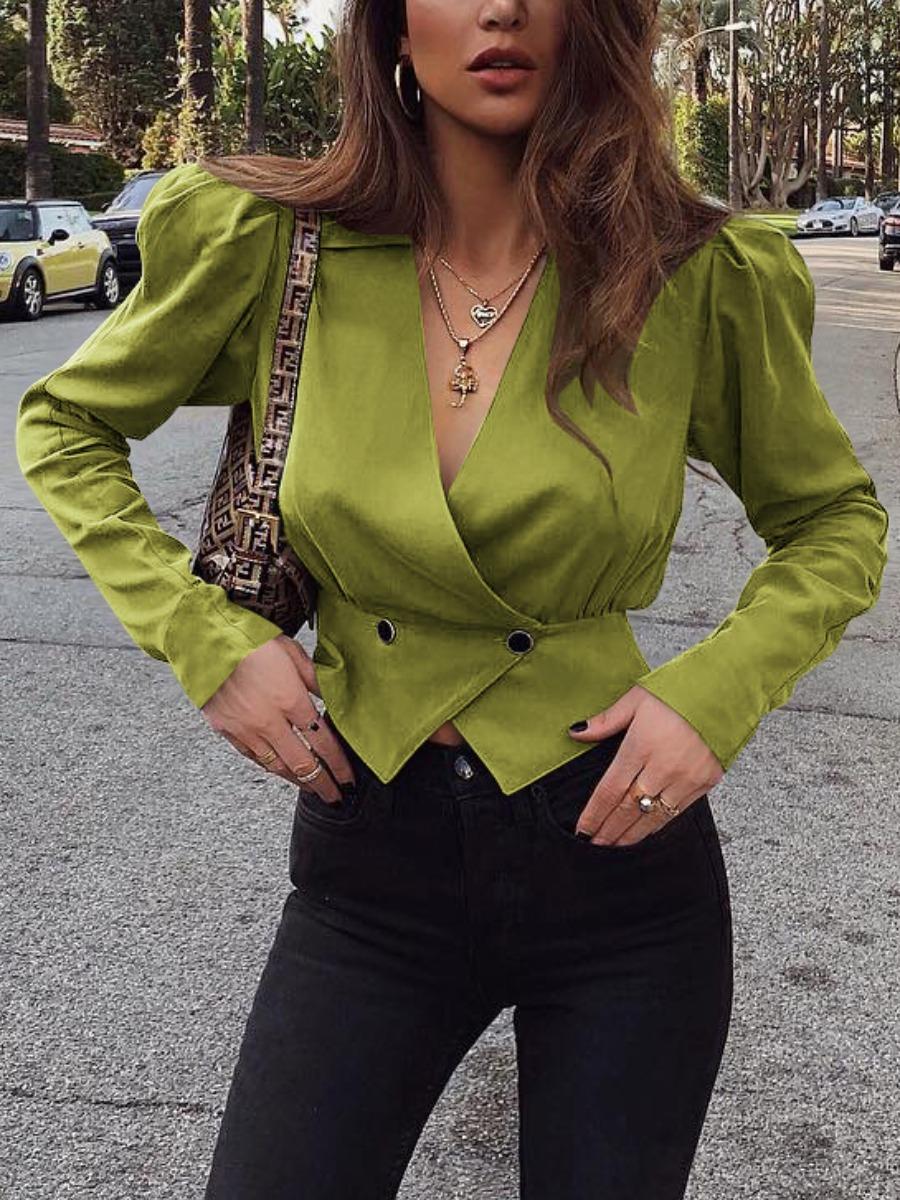 LW lovely Trendy V Neck Buttons Design Green Blazer