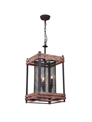 DU106 3-Light Ceiling Fixture with Iron and Wood Materials and 40 Watts in Black