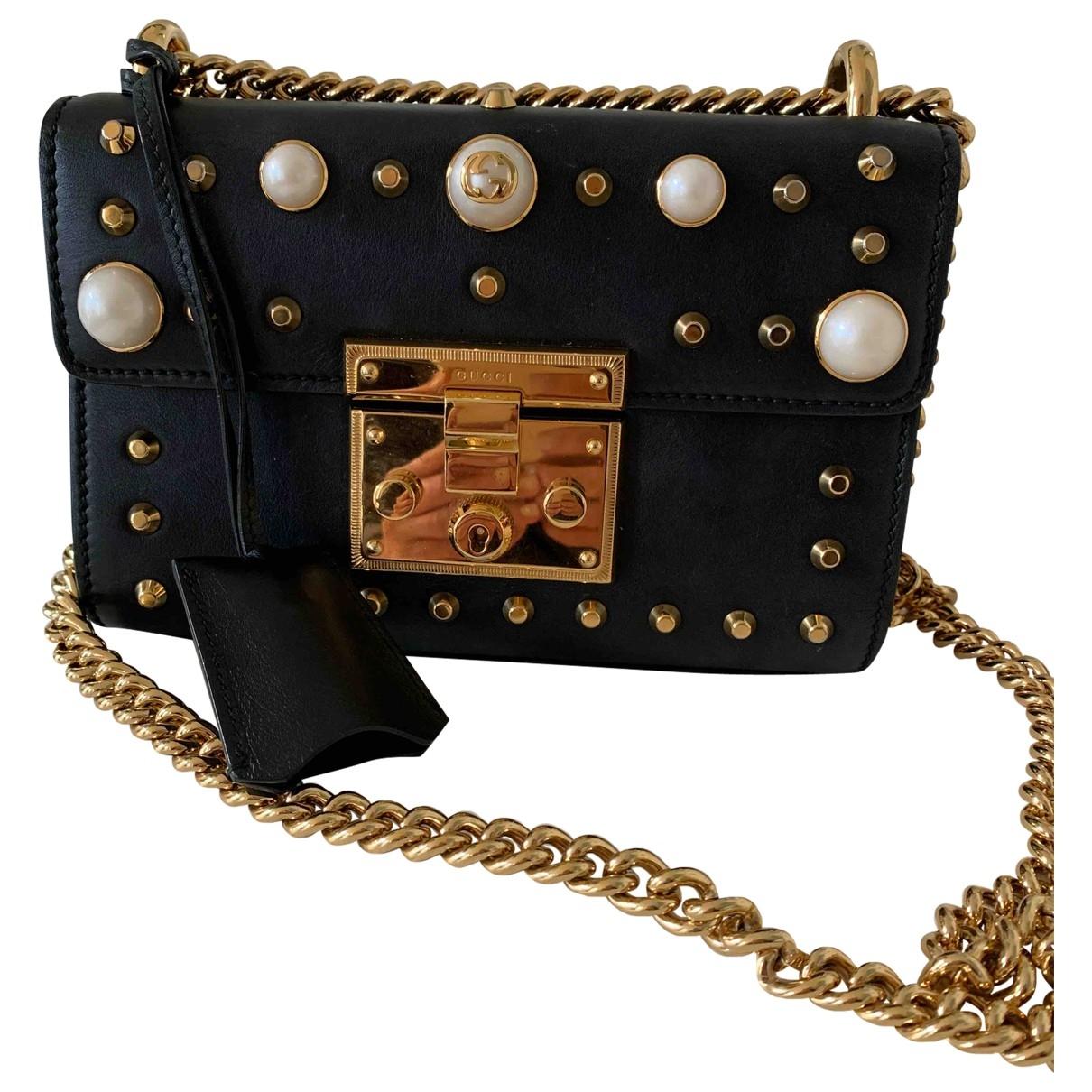Gucci Padlock Handtasche in  Schwarz Leder
