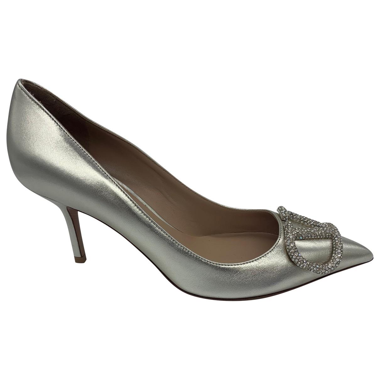 Valentino Garavani VLOGO Silver Leather Heels for Women 38 EU