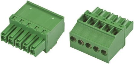 TE Connectivity Non-Fused Terminal Block, 5 Way/Pole, Screw Down Terminals, 30 → 14 AWG Cable Mount, Nylon, 300 V