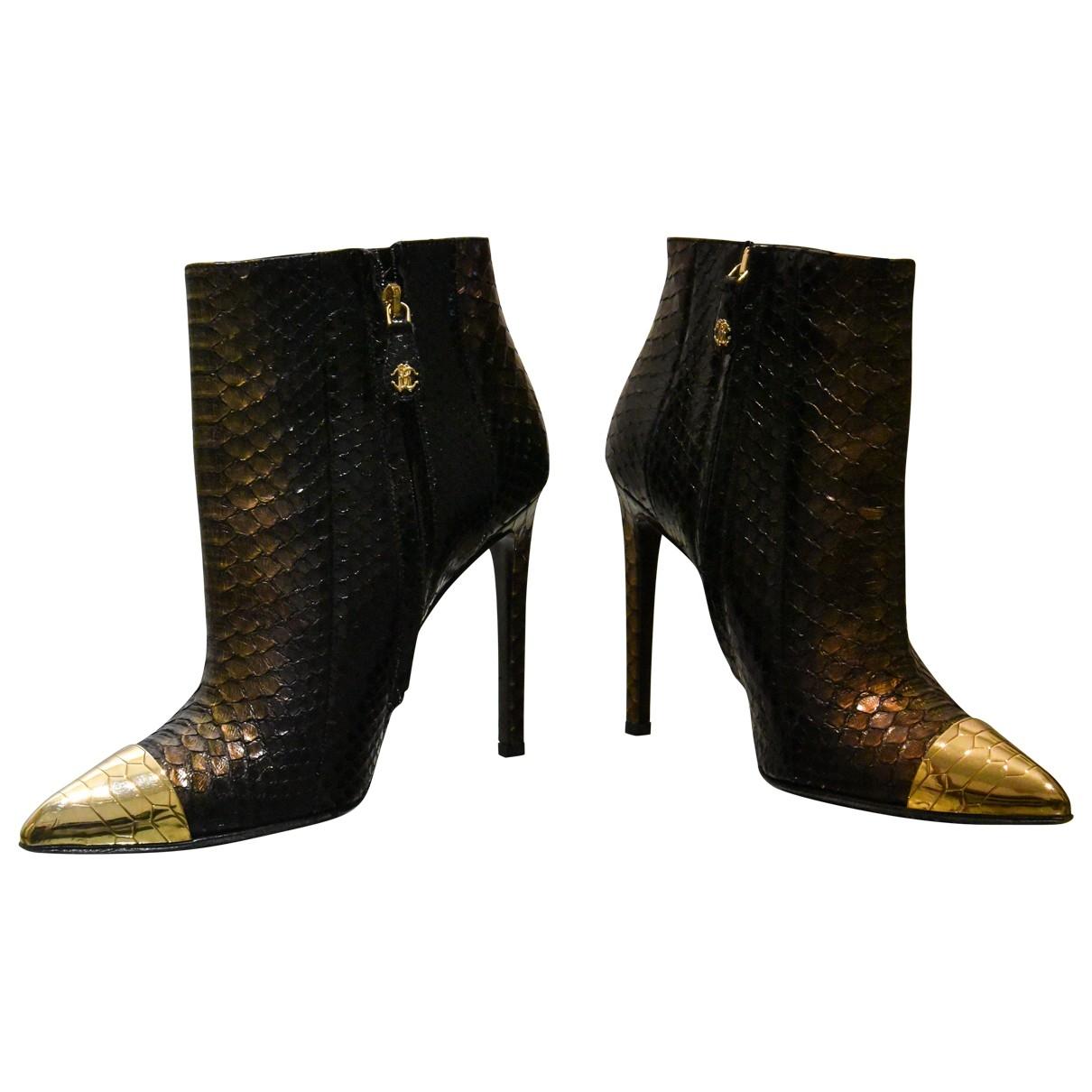 Roberto Cavalli - Boots   pour femme en serpent deau - noir