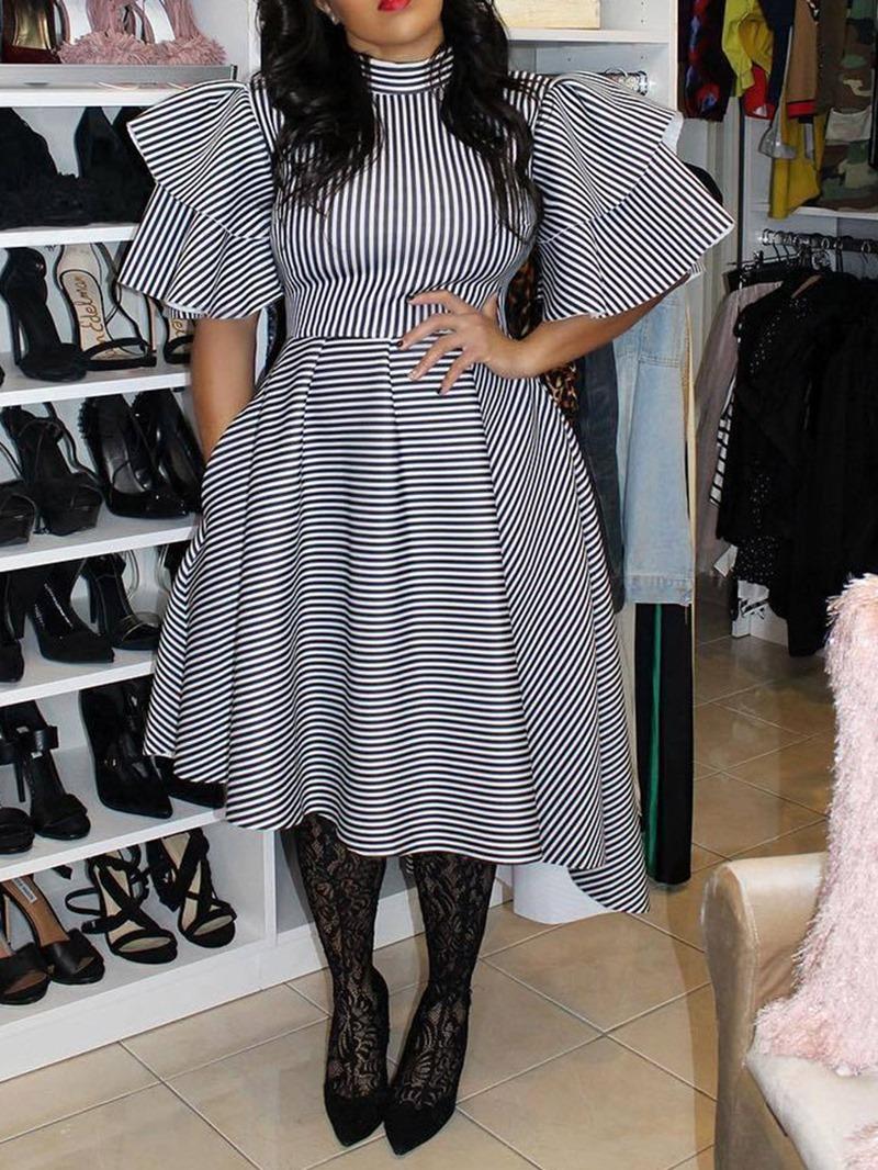 Ericdress Plus Size Asymmetric,Ruffles Striped Ruffle Sleeve Dress