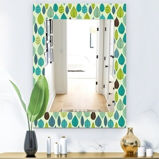Designart 'Texture With Leaf' Mid-Century Mirror - Wall Mirror (29.5 in. wide x 39.4 in. high)