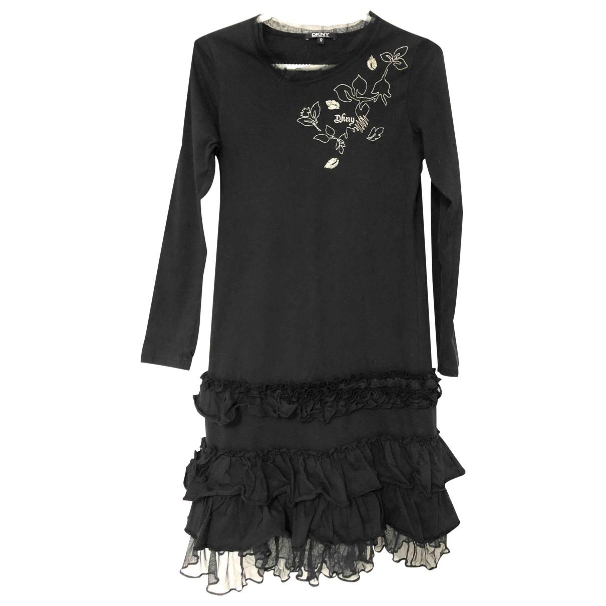 Dkny \N Kleid in  Schwarz Baumwolle