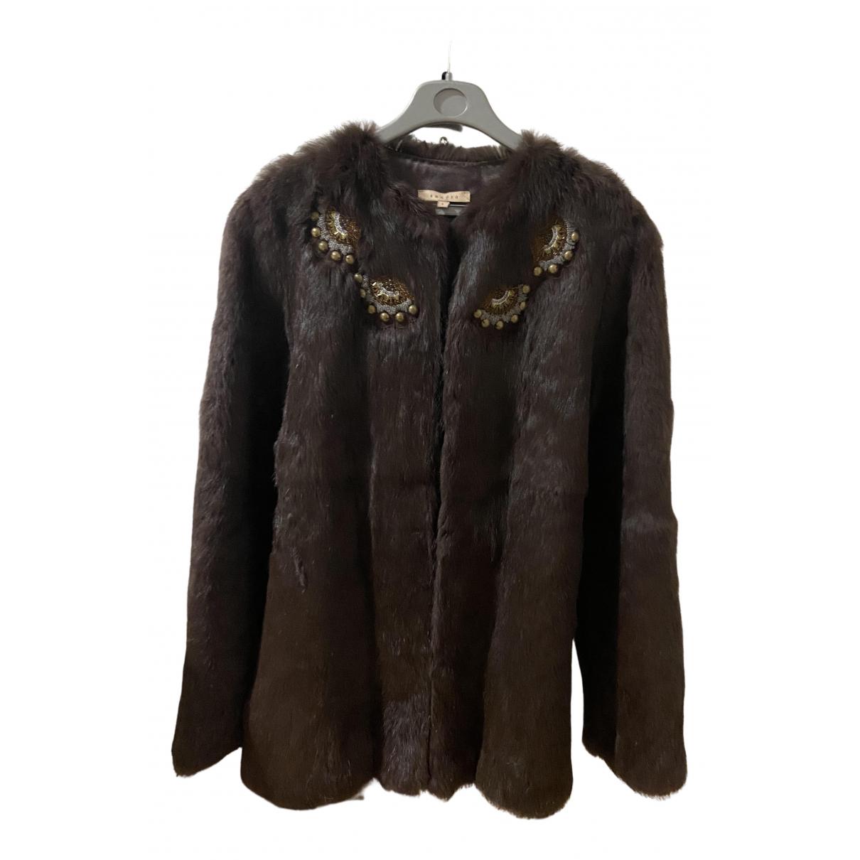 Sandro N Brown Rabbit coat for Women 36 FR