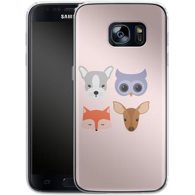 Samsung Galaxy S7 Silikon Handyhuelle - Animal Friends on Pink von caseable Designs