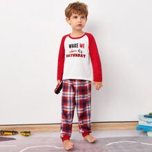 Schlafanzug Set mit Buchstaben und Karo Muster