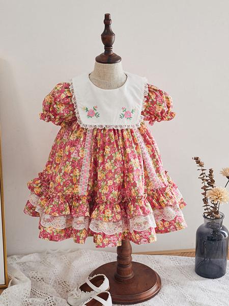 Milanoo Vestido de Lolita para niños Vestido de niña de flores de algodon con mangas abullonadas y estampado floral