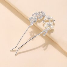 Rhinestone & Faux Pearl Decor U-Shaped Hair Pin