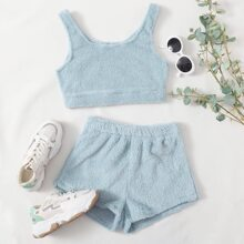 Fluffy Knit Flannel Tank Top With Shorts Lounge Set