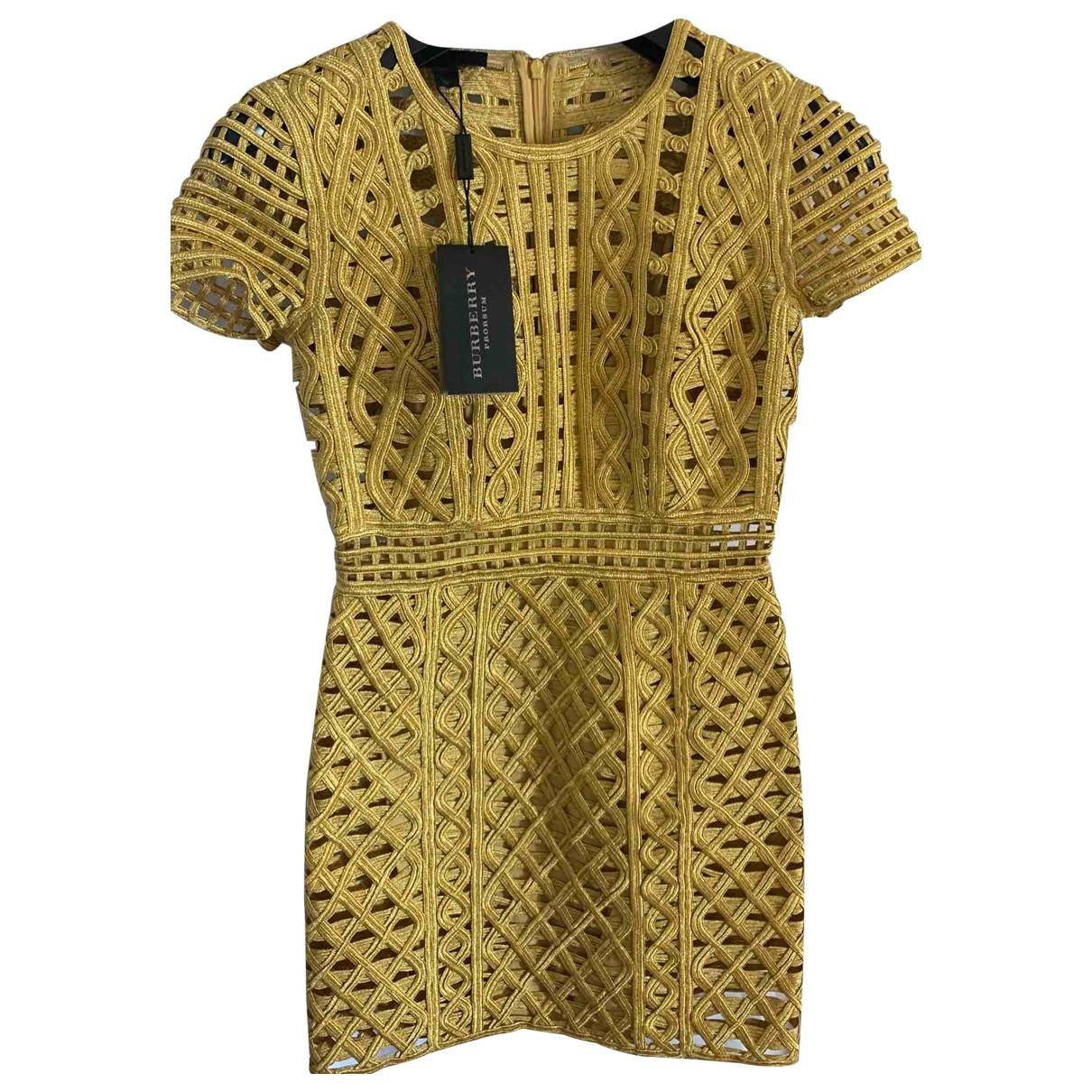 Burberry \N Kleid in  Gold Baumwolle