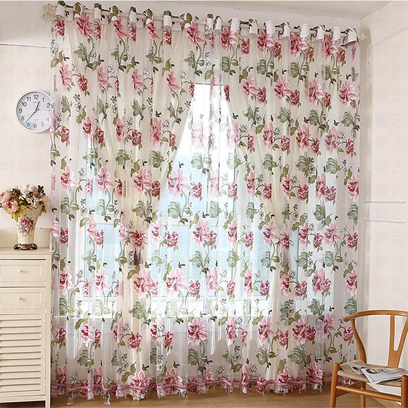 Ornate Peony Printing Custom Sheer Curtain