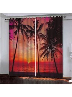 Beautiful Sunset Glow and Coconut Trees 3D Printed Custom Blackout Scenery Curtains
