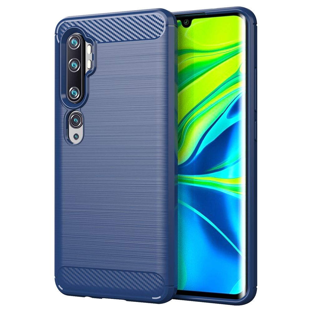 Makibes Carbon Fiber Texture Anti-fall Soft TPU Phone Case For Xiaomi CC9 Pro / Xiaomi Mi Note 10 - Blue
