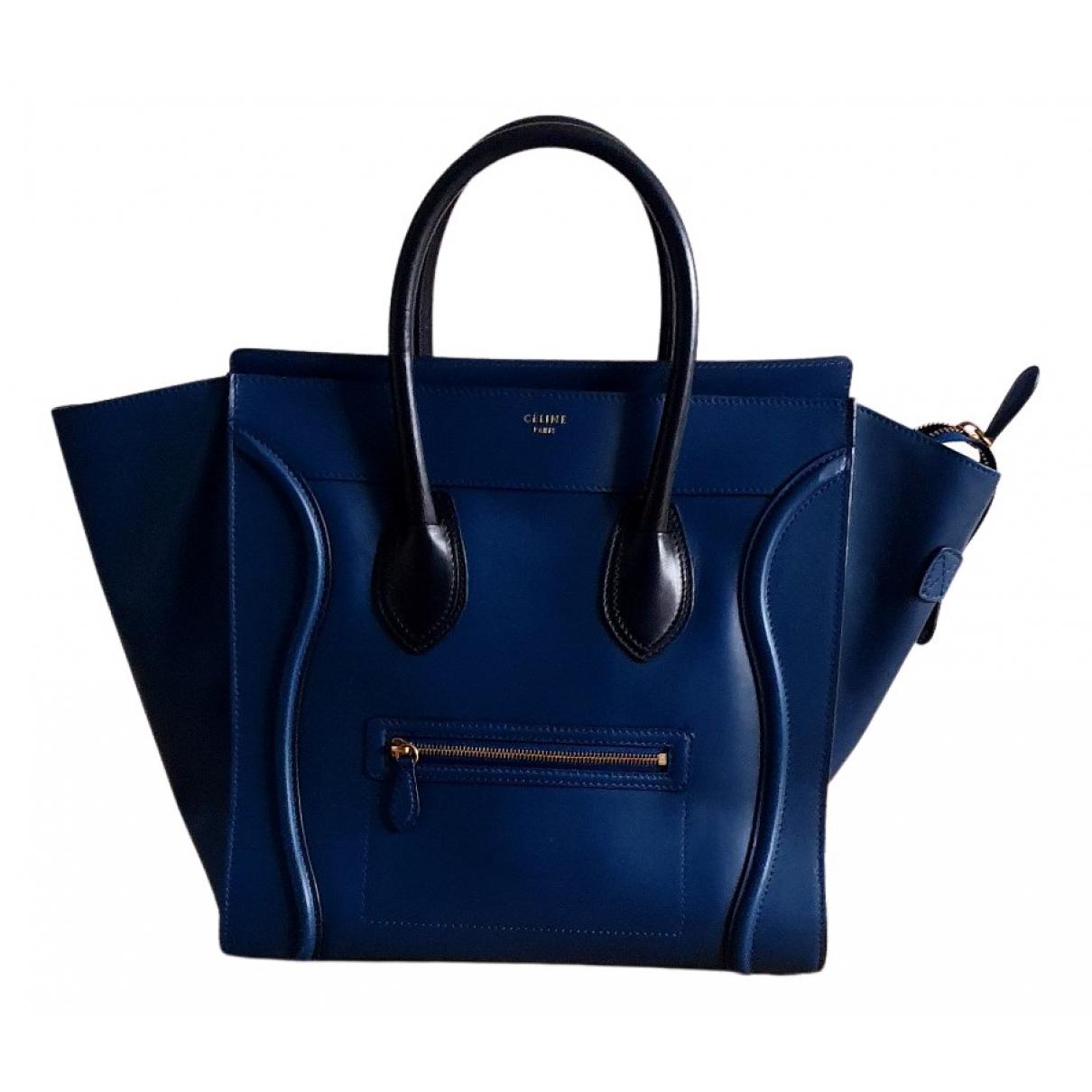 Celine Luggage Handtasche in  Blau Leder