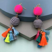 1pair Color Block Tassel Drop Earrings