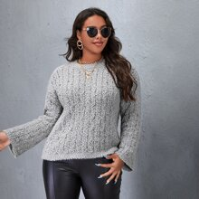 Plus Solid Boucle Knit Sweater
