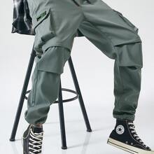 Men Flap Pocket Drawstring Waist Cargo Pants