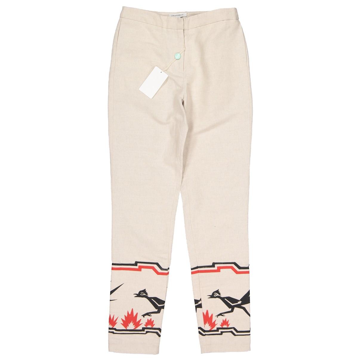J.w. Anderson \N Beige Cotton Trousers for Women 8 UK