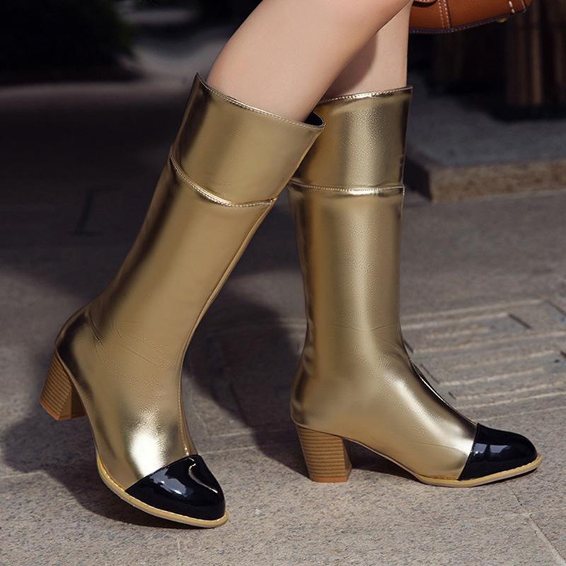 Ericdress Chunky Heel Round Toe Slip-On Short Floss Boots