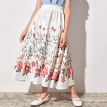 Girls Floral Print Elastic Waist Skirt