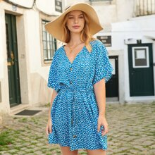 Ditsy Floral Button Front Drawstring Waist Dress