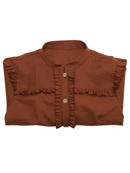 Milanoo Sweet Lolita Blouses Lolita Top Frills Long Sleeves Blouse Coffee Brown Lolita Shirt