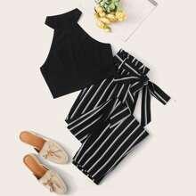 Rib-knit Halter Top and Paperbag Waist Striped Pants Set