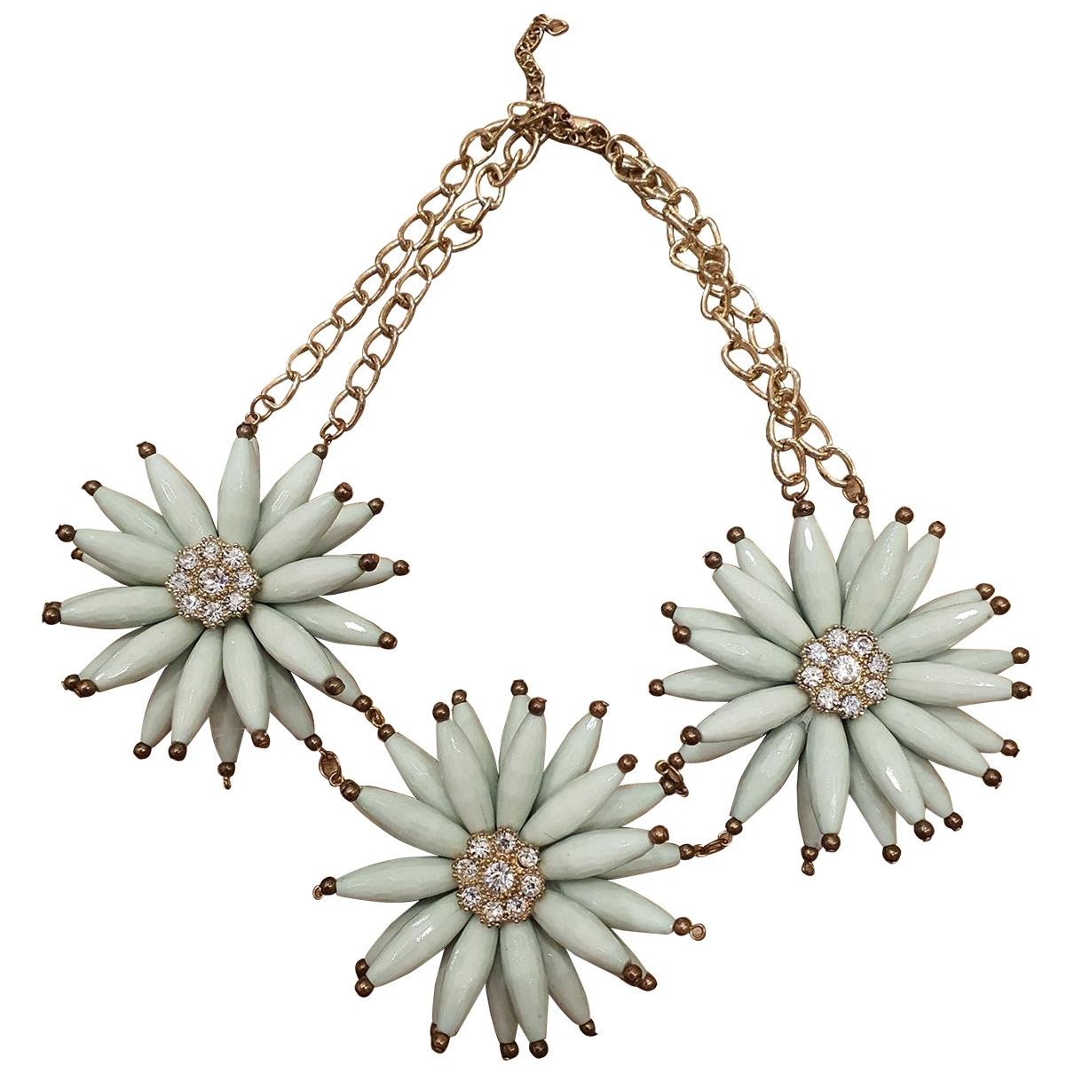 Non Signe / Unsigned Motifs Floraux Kette in  Gruen Metall