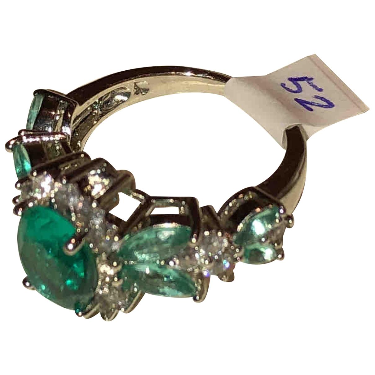 Non Signe / Unsigned \N Ring in  Gruen Silber