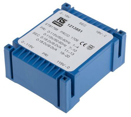 RS PRO 2 x 18V ac 2 Output PCB Mount PCB Transformer, 18VA